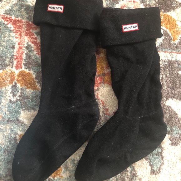 Hunter fleece tall boot socks / inserts in black